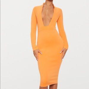 PrettyLittleThing | Orange Bonded Scuba Dress